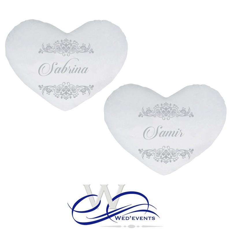 Idee Cadeau Pour Mariage.Coussins Personnalises Coeur Prenoms Idee Cadeau Mariage