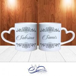 Mug personnalisé - idée cadeau mariage gris ( lot de 2 )