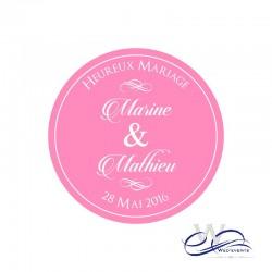 Sticker personnalisé / autocollant personnalisé mariage rond