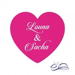 Stickers personnalisé / autocollant personnalisé mariage coeur fushia
