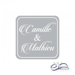 Stickers personnalisé / autocollant personnalisé mariage carré gris