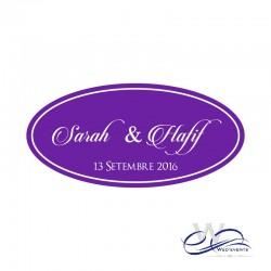 Stickers personnalisé / autocollant personnalisé mariage ovale violet