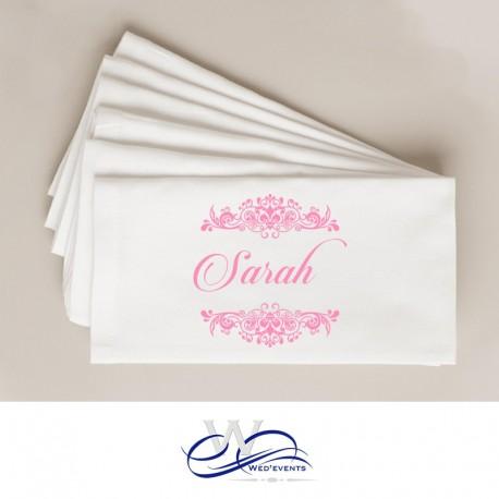 Serviette personnalisée en tissu décoration de table mariage rose