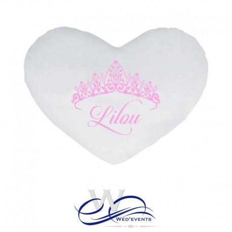 Coussin personnalisé couronne princesse