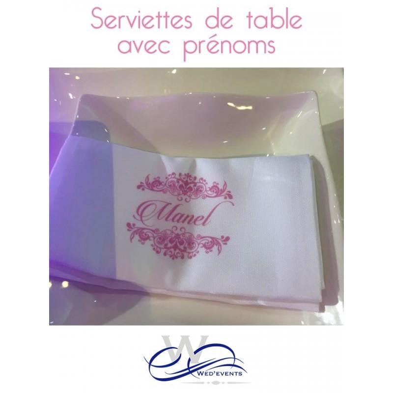 Serviette de table personnalis e en tissu mariage - Presentation serviette de table ...