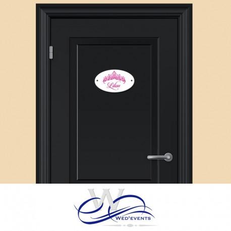 Plaque de porte à personnaliser couronne princesse