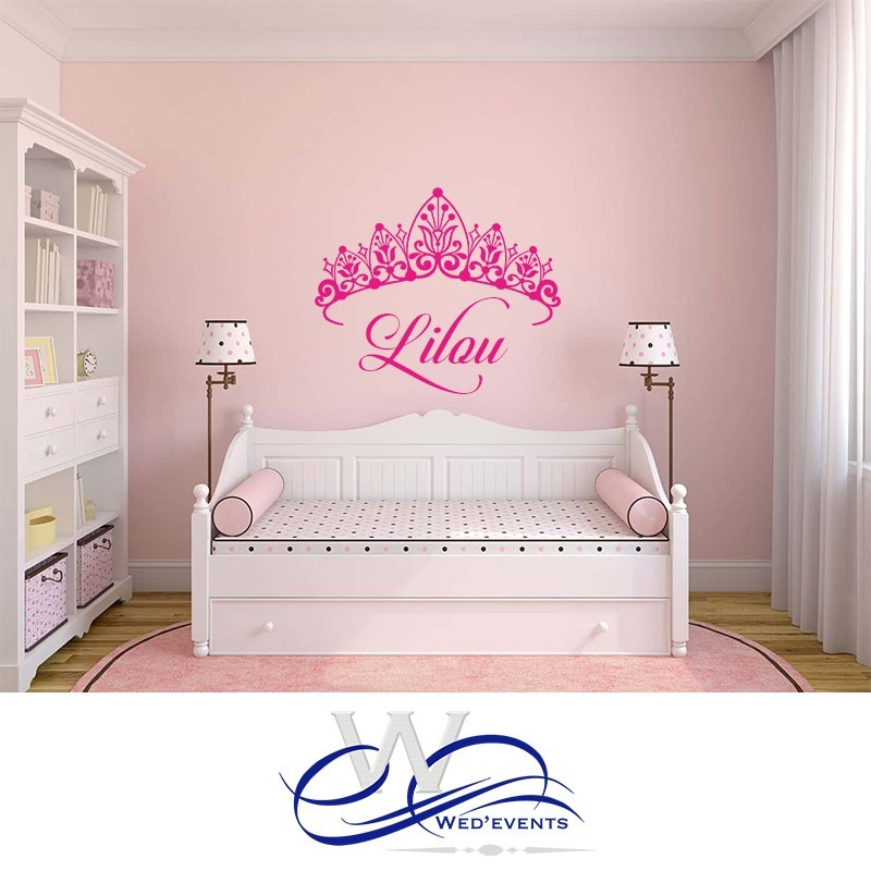 stickers muraux personnalis s avec le pr nom et un ornement. Black Bedroom Furniture Sets. Home Design Ideas