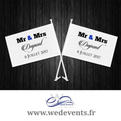 Lot de 2 drapeaux pour voiture des mariés personnalisés Mr & Mrs