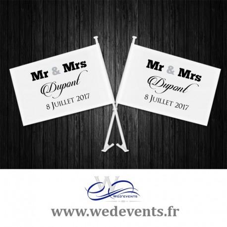 Lot de 2 drapeaux de voiture mariage personnalisés Mr & Mrs