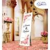 Bannière de bienvenue au mariage personnalisée roses fleurs