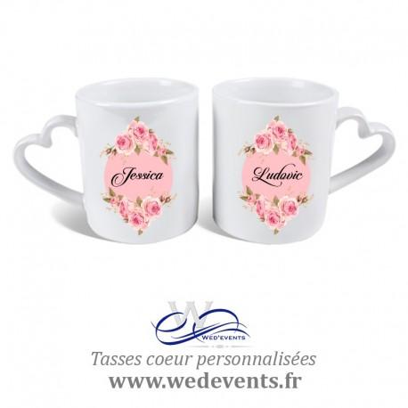 2 Tasses personnalisées coeur idée cadeau couple / Mariage
