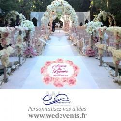 Sticker personnalisé pour sol et tapis d'allée prénoms et date de mariage Fleur Roses