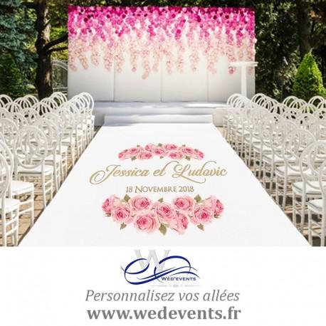Sticker personnalisé pour tapis d'allée et piste de danse mariage Fleurs roses