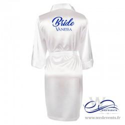 Peignoir Bride en satin personnalisé avec prénom de la mariée