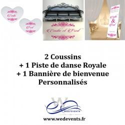 2 coussins personnalisés + 1 piste de danse royale + 1 bannière de bienvenue décoration mariage