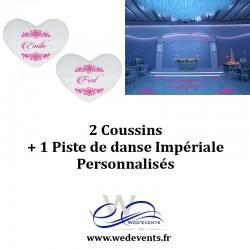 2 coussins personnalisés + 1 piste de danse impériale décoration mariage