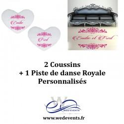 2 coussins personnalisés + 1 piste de danse royale décoration mariage