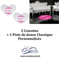 2 coussins personnalisés + 1 piste de danse classique décoration mariage