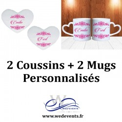 2 coussins personnalisés + 2 Mugs personnalisés (tasses) coeur