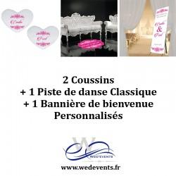 2 coussins personnalisés + 1 piste de danse classique + 1 bannière de bienvenue décoration mariage