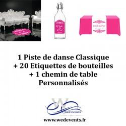1 Piste de danse personnalisée + 1 chemin de table + 20 étiquettes de bouteilles mariage personnalisé