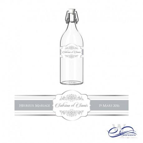1 bannière de bienvenue + 1 chemin de table + 20 étiquettes de bouteilles mariage personnalisé