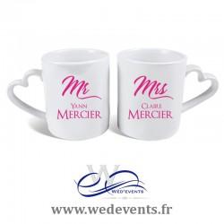 2 Tasses personnalisées coeur Mr & Mrs