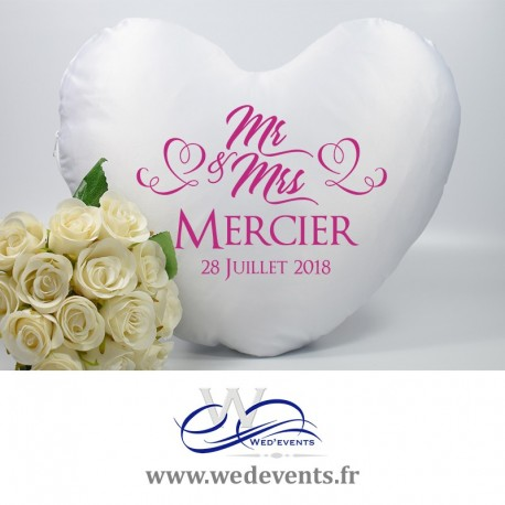 Coussin coeur personnalisé Mr & Mrs