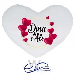 Coussin personnalisé coeur avec prénoms cadeau original