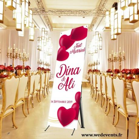 Pancarte de bienvenue personnalisée mariage just married