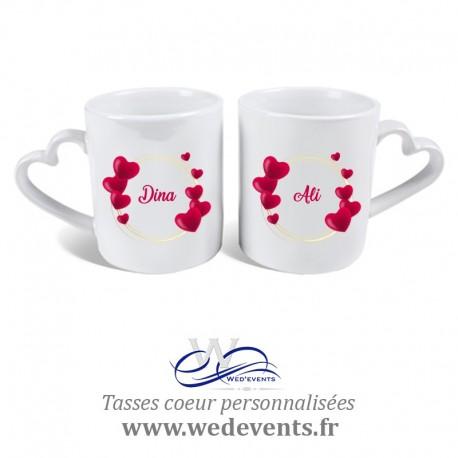 2 Tasses personnalisées coeur Just Married