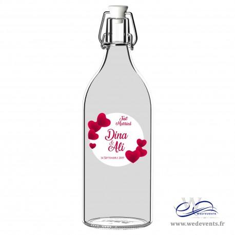 Autocollant pour bouteilles personnalisées just married coeur mariage
