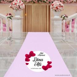 Sticker personnalisé pour sol et tapis d'allée prénoms et date de mariage just married coeur