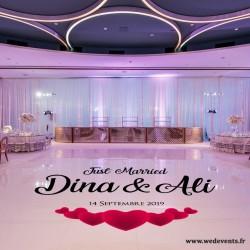 Piste de danse personnalisée mariage dance floor Just Married coeur or