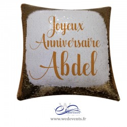 Coussin personnalisé save the date mariage carré rose
