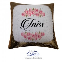 coussin sequin personnalisé prénom or et blanc fleurs cadeau