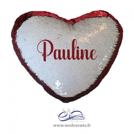 Coussin sequin coeur rouge et blanc à personnaliser avec prénom