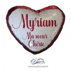 Coussin sequin coeur personnalisable rouge cadeau soeur