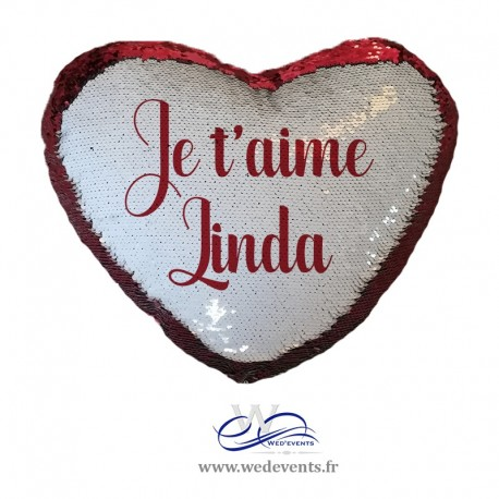 Coussin coeur sequin personnalisable rouge