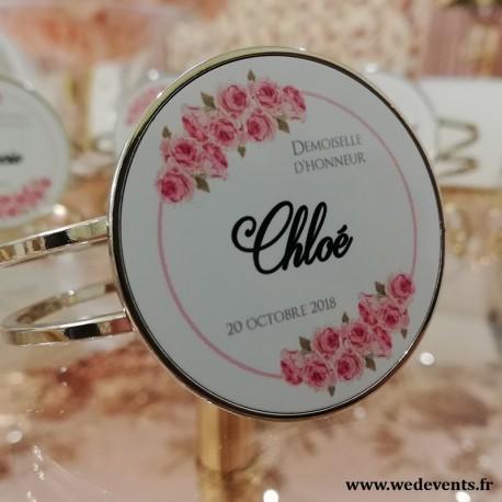 Bracelet personnalisé pour demoiselles d'honneur fleurs roses
