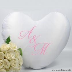 Coussin personnalisé coeur cadeau personnalisé initiales