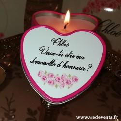 Bougie coeur personnalisée pour demoiselles d'honneur fleurs roses