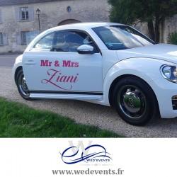 Autocollant pour voiture de mariage personnalisé Mr & Mrs
