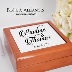 Boîte à alliances personnalisée avec prénoms des mariés