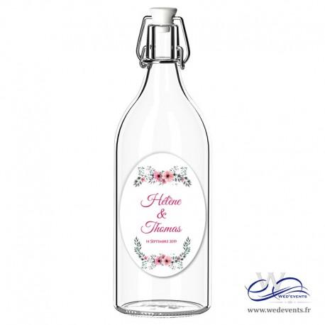 Etiquettes autocollantes pour bouteilles personnalisés mariage floral