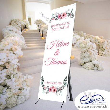 Bannière de bienvenue mariage personnalisée florale