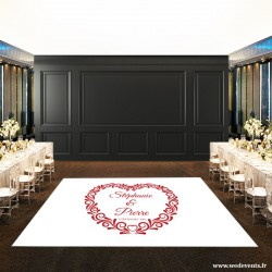 Piste de danse en forme de coeur personnalisée avec les prénoms et la date du mariage