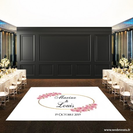 Tapis de piste de danse mariage personnalisé avec prénoms des mariés, date et fleurs roses