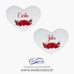 Lot de 2 coussins coeur personnalisés prénoms roses rouges