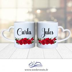 2 mugs personnalisés coeur roses rouges